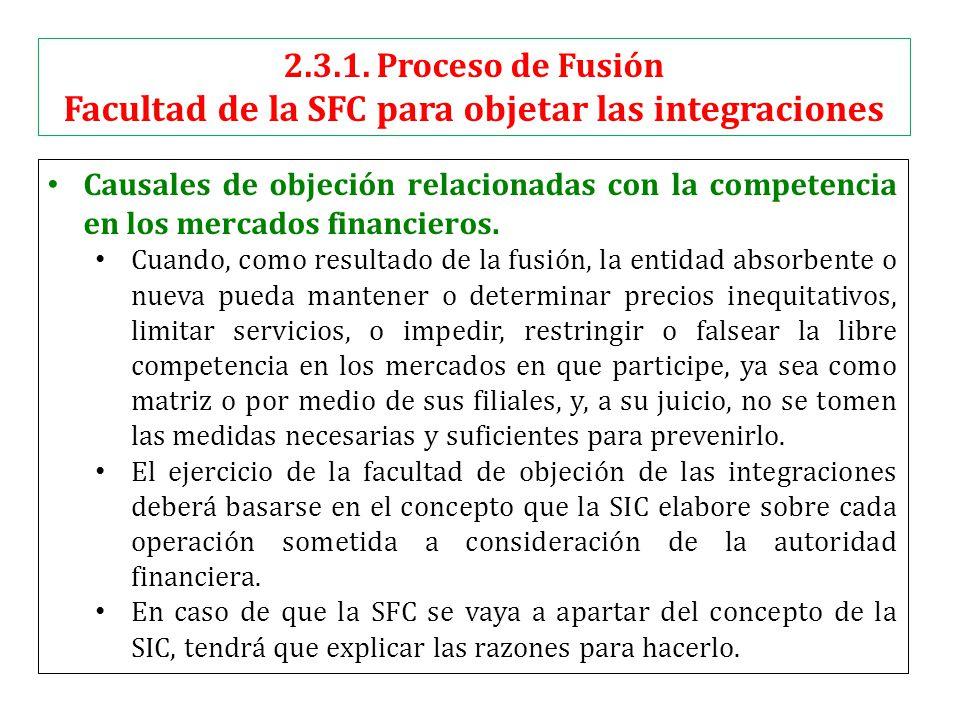 Causales de objeción relacionadas con la competencia en los mercados financieros.