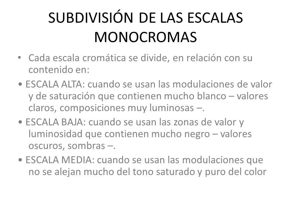 SUBDIVISIÓN DE LAS ESCALAS MONOCROMAS Cada escala cromática se divide, en relación con su contenido en: ESCALA ALTA: cuando se usan las modulaciones d