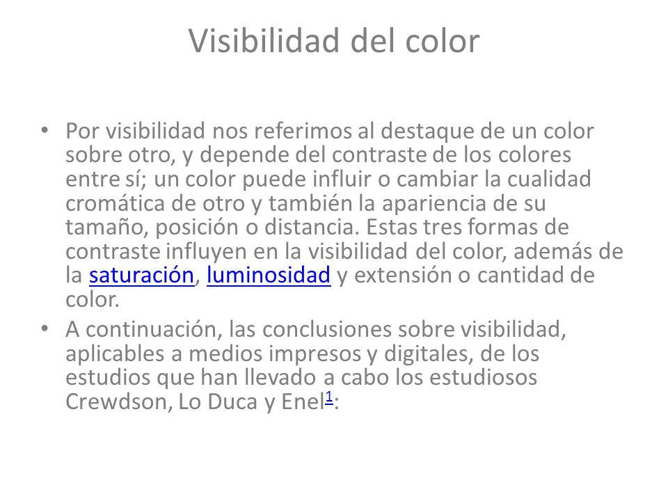 Visibilidad del color Por visibilidad nos referimos al destaque de un color sobre otro, y depende del contraste de los colores entre sí; un color pued