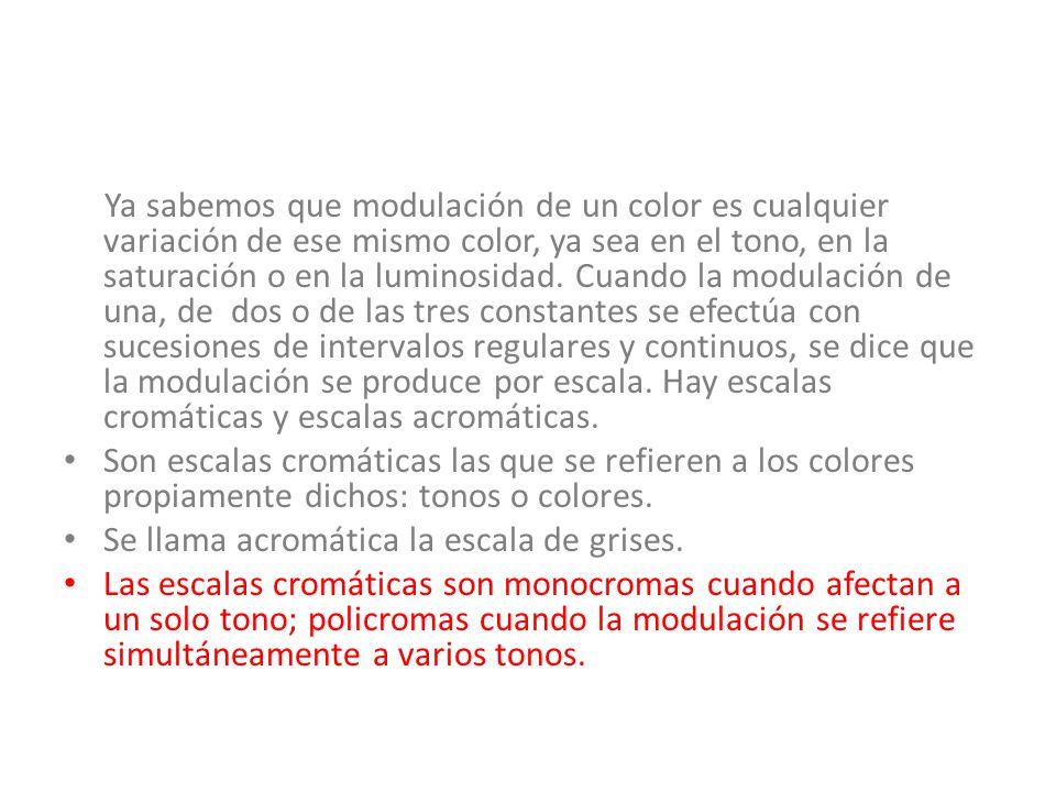 ESCALAS MONOCROMAS Un tono se puede modular mezclándolo con otros colores, o bien, variando la saturación o la luminosidad o variando ambas constantes simultáneamente, saturación y luminosidad, o sea el valor.