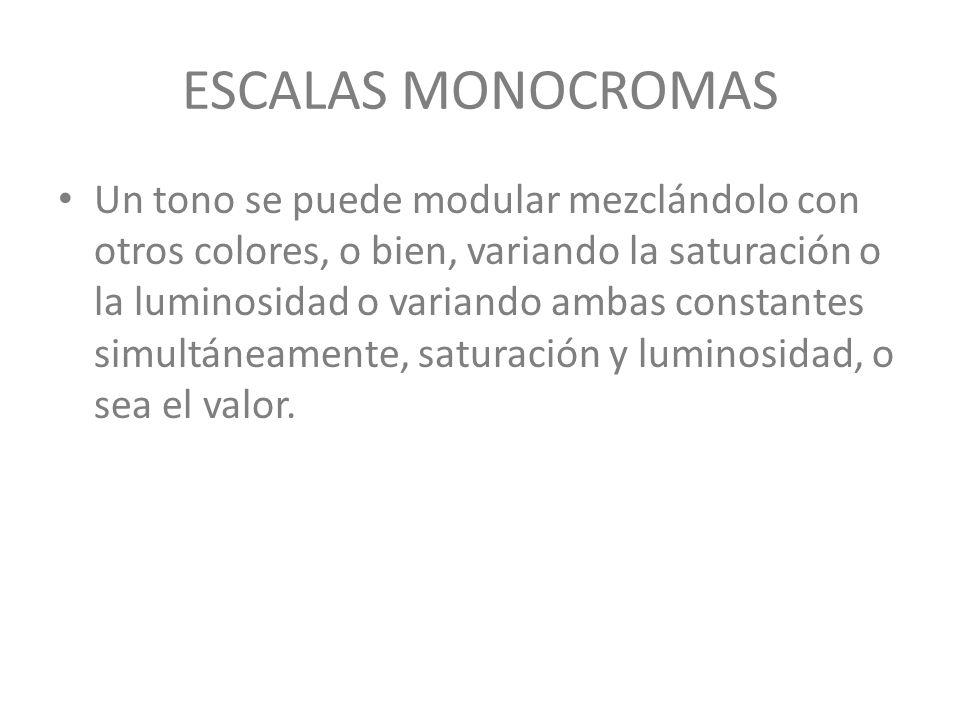 ESCALAS MONOCROMAS Un tono se puede modular mezclándolo con otros colores, o bien, variando la saturación o la luminosidad o variando ambas constantes