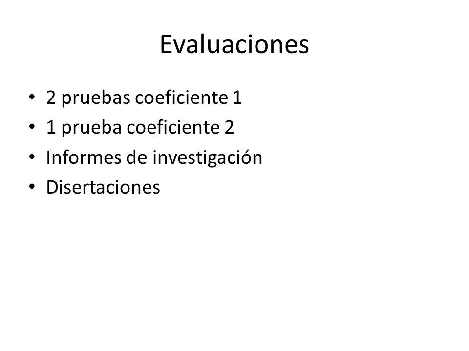 Evaluaciones 2 pruebas coeficiente 1 1 prueba coeficiente 2 Informes de investigación Disertaciones