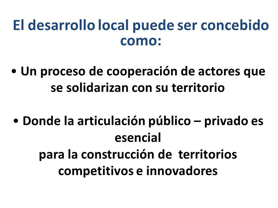 Un proceso de cooperación de actores que se solidarizan con su territorio Donde la articulación público – privado es esencial para la construcción de