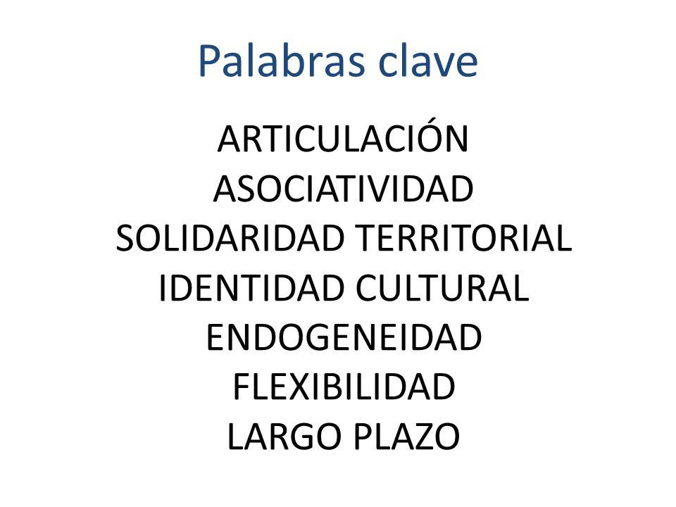 ARTICULACIÓN ASOCIATIVIDAD SOLIDARIDAD TERRITORIAL IDENTIDAD CULTURAL ENDOGENEIDAD FLEXIBILIDAD LARGO PLAZO Palabras clave