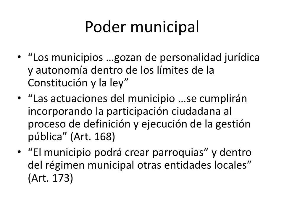 Poder municipal Los municipios …gozan de personalidad jurídica y autonomía dentro de los límites de la Constitución y la ley Las actuaciones del munic