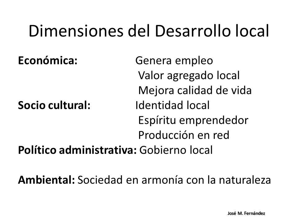 Dimensiones del Desarrollo local Económica: Genera empleo Valor agregado local Mejora calidad de vida Socio cultural: Identidad local Espíritu emprend