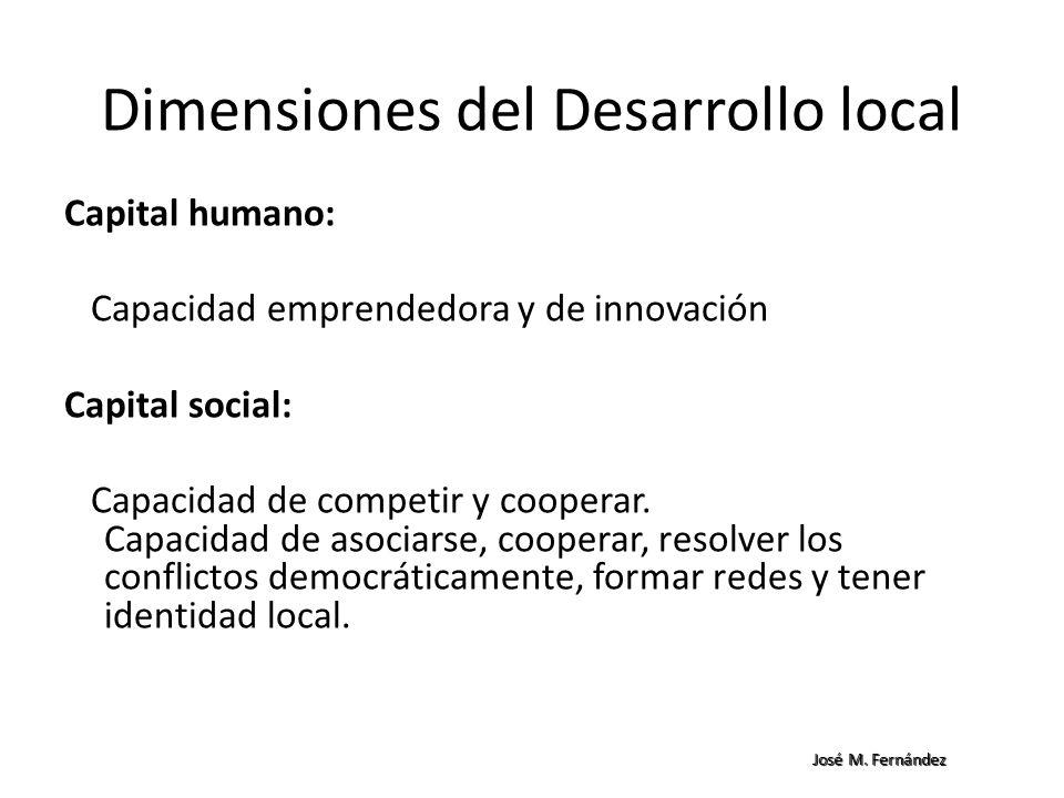Dimensiones del Desarrollo local Capital humano: Capacidad emprendedora y de innovación Capital social: Capacidad de competir y cooperar. Capacidad de