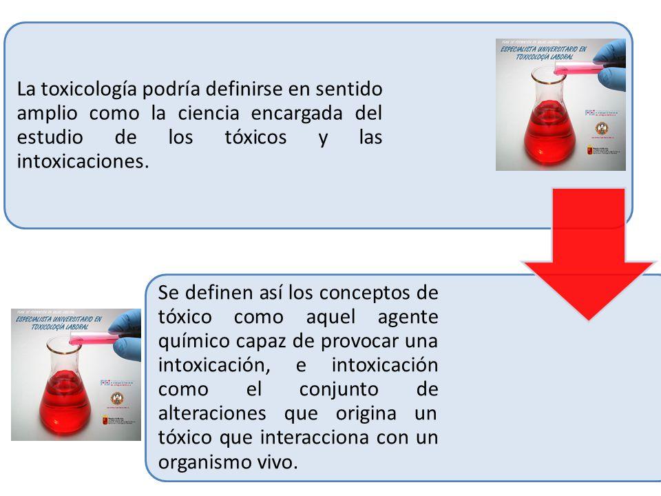 La toxicología podría definirse en sentido amplio como la ciencia encargada del estudio de los tóxicos y las intoxicaciones. Se definen así los concep