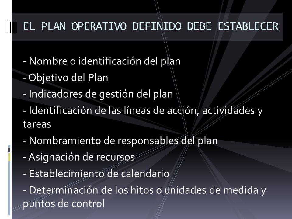 - Nombre o identificación del plan - Objetivo del Plan - Indicadores de gestión del plan - Identificación de las líneas de acción, actividades y tarea