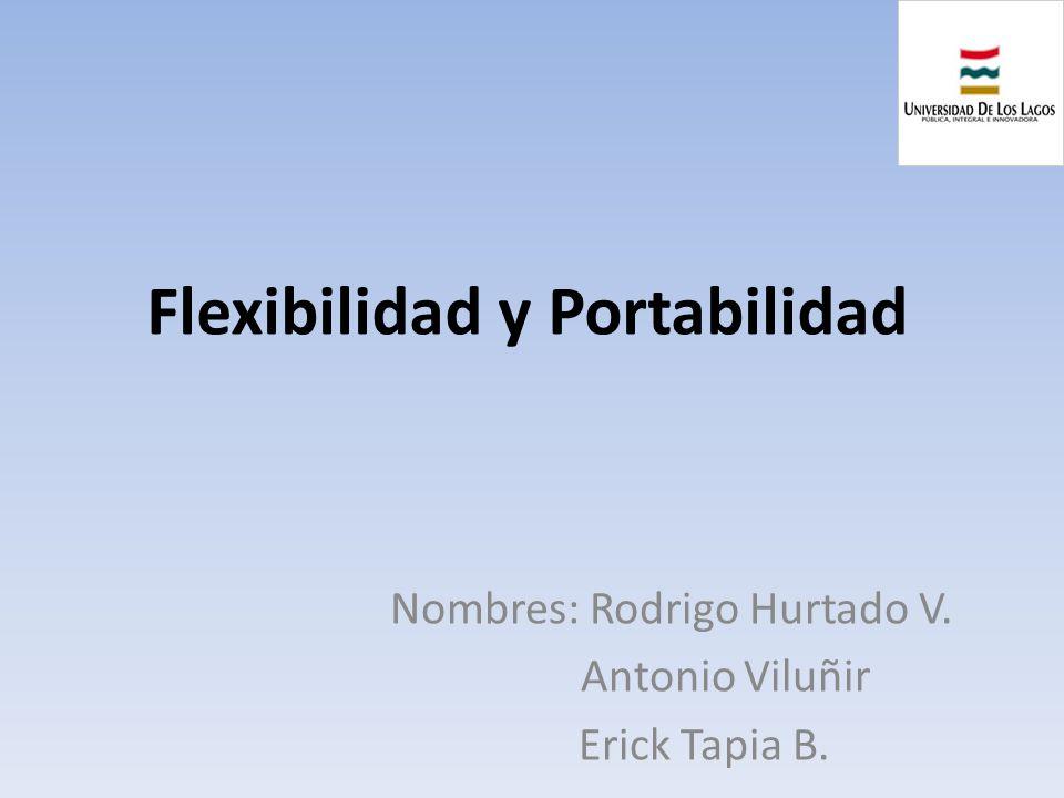 Flexibilidad y Portabilidad Nombres: Rodrigo Hurtado V. Antonio Viluñir Erick Tapia B.