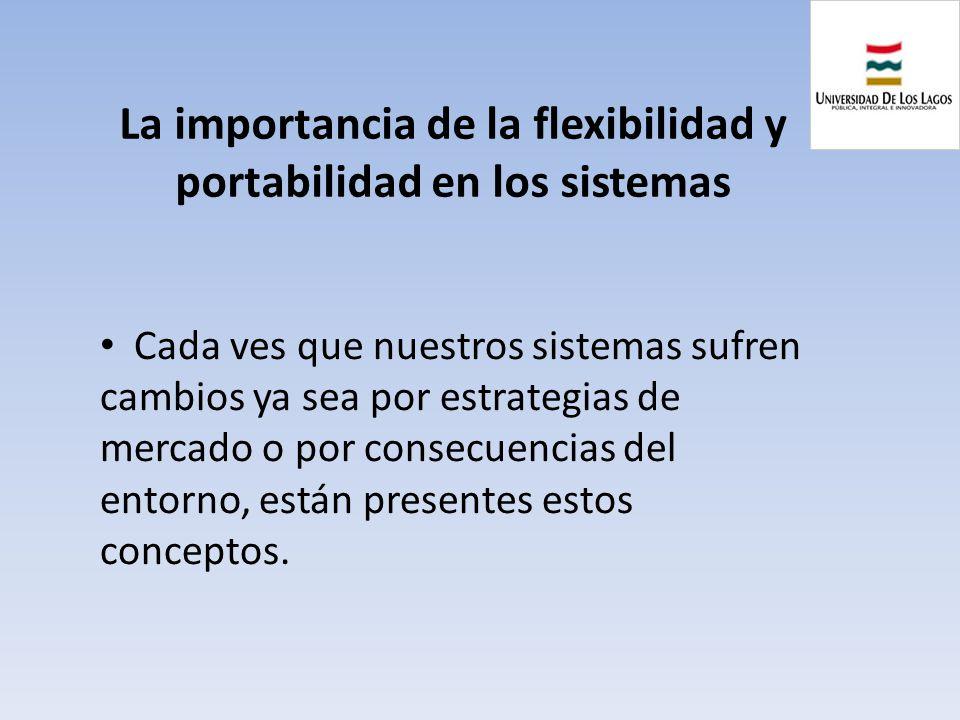 La importancia de la flexibilidad y portabilidad en los sistemas Cada ves que nuestros sistemas sufren cambios ya sea por estrategias de mercado o por
