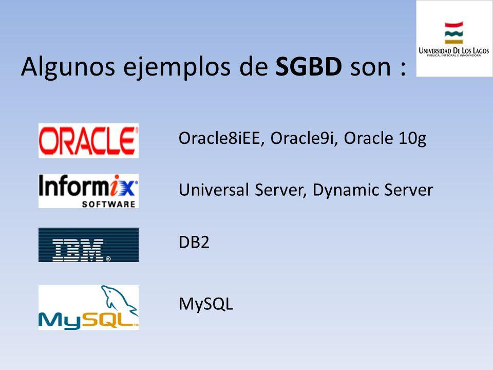 Algunos ejemplos de SGBD son : DB2 Oracle8iEE, Oracle9i, Oracle 10g MySQL Universal Server, Dynamic Server