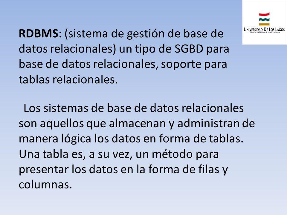 RDBMS: (sistema de gestión de base de datos relacionales) un tipo de SGBD para base de datos relacionales, soporte para tablas relacionales. Los siste