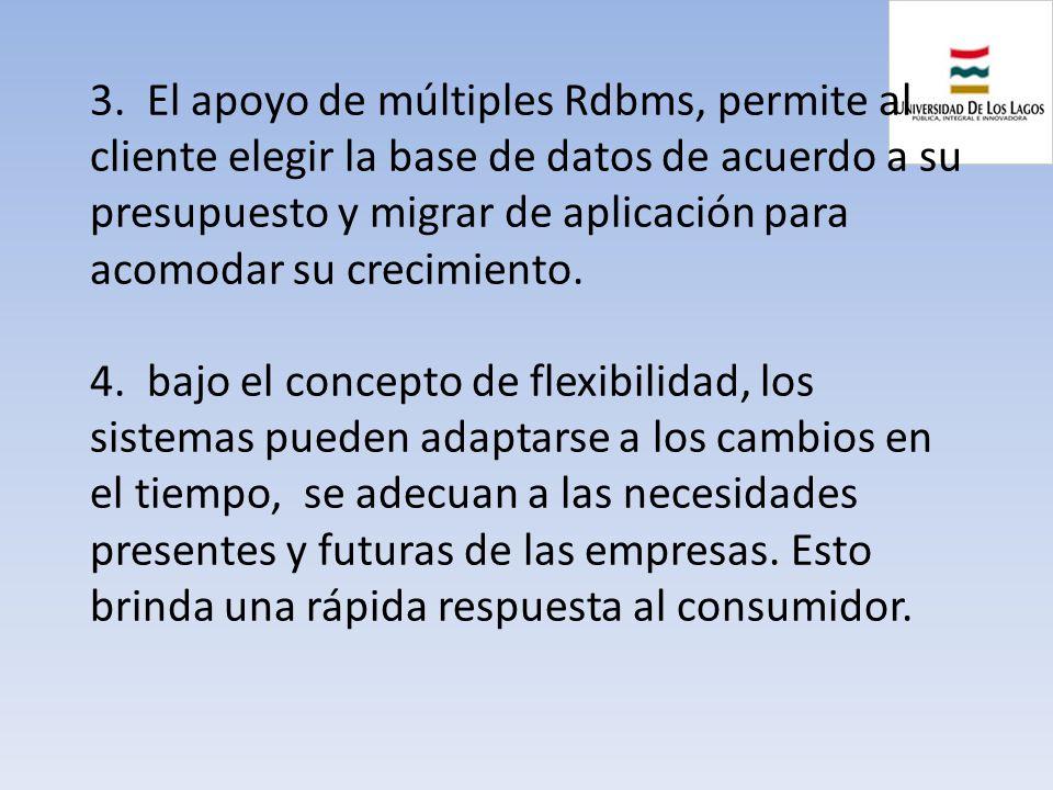 3. El apoyo de múltiples Rdbms, permite al cliente elegir la base de datos de acuerdo a su presupuesto y migrar de aplicación para acomodar su crecimi