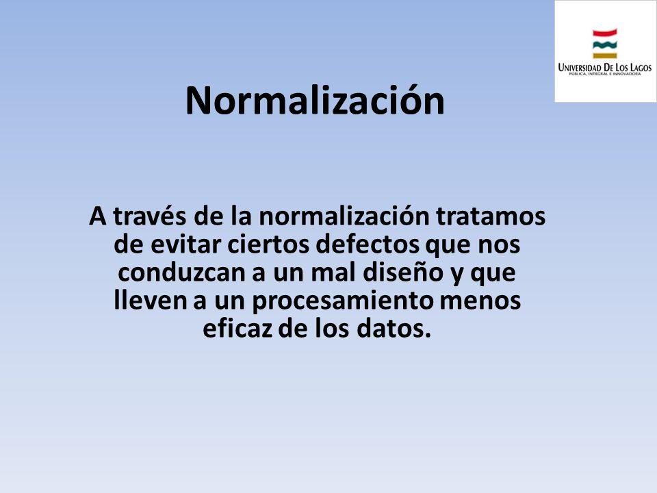 Normalización A través de la normalización tratamos de evitar ciertos defectos que nos conduzcan a un mal diseño y que lleven a un procesamiento menos
