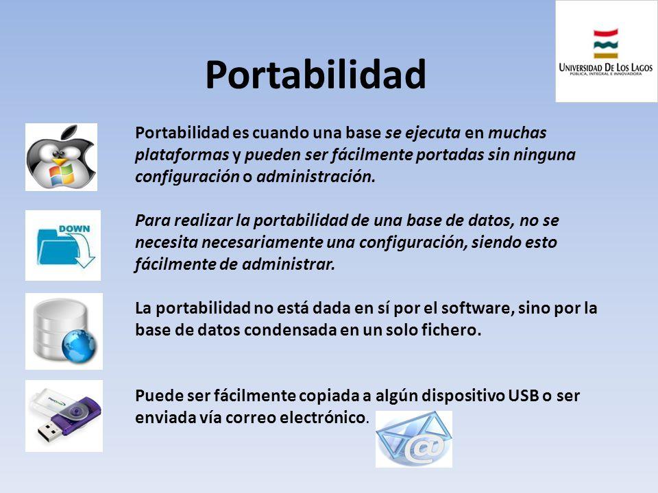 Portabilidad Portabilidad es cuando una base se ejecuta en muchas plataformas y pueden ser fácilmente portadas sin ninguna configuración o administrac