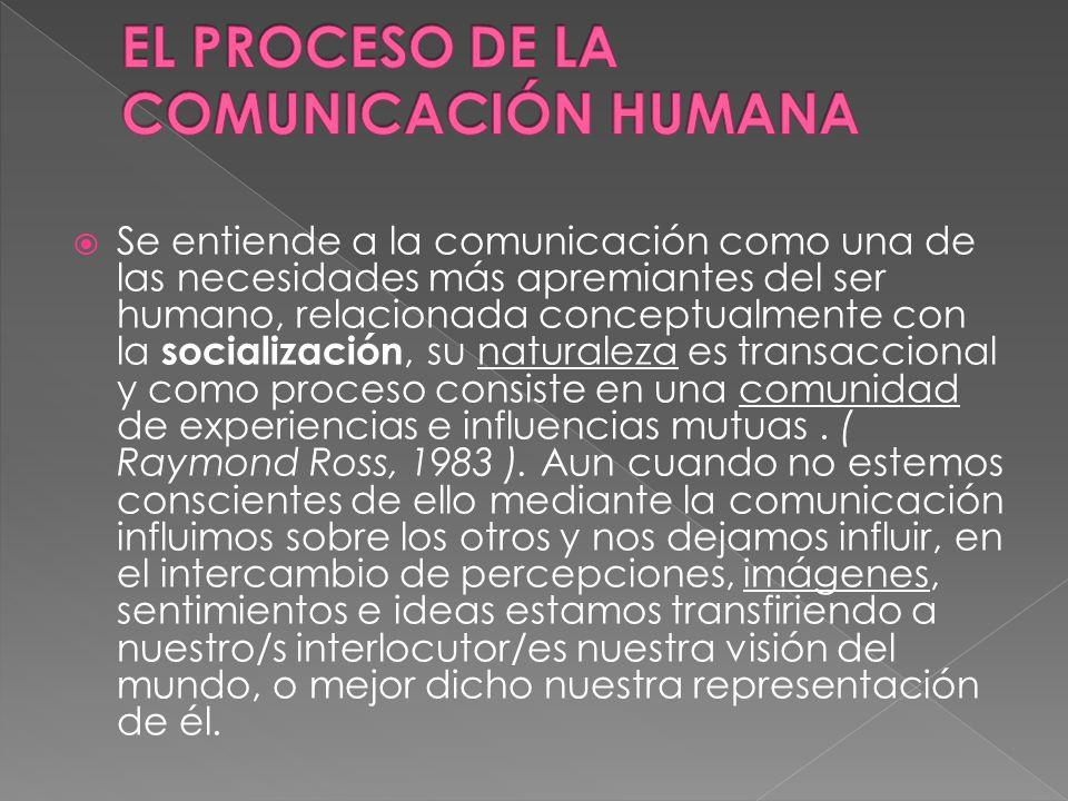 Se entiende a la comunicación como una de las necesidades más apremiantes del ser humano, relacionada conceptualmente con la socialización, su naturaleza es transaccional y como proceso consiste en una comunidad de experiencias e influencias mutuas.