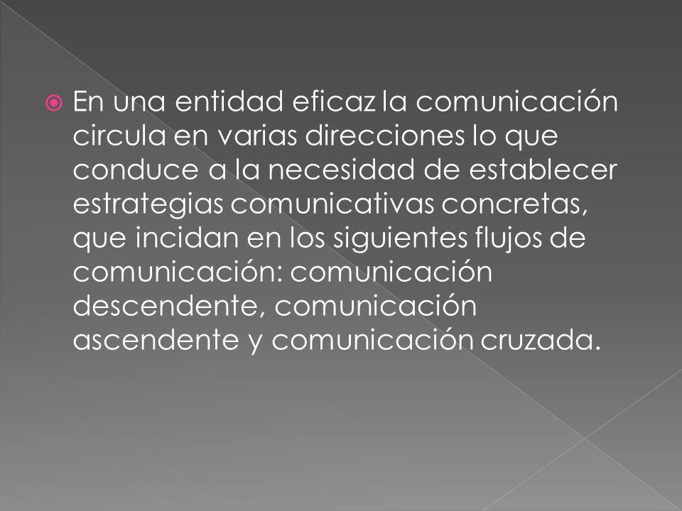 En una entidad eficaz la comunicación circula en varias direcciones lo que conduce a la necesidad de establecer estrategias comunicativas concretas, que incidan en los siguientes flujos de comunicación: comunicación descendente, comunicación ascendente y comunicación cruzada.