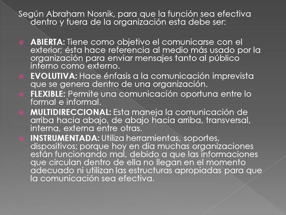 La comunicación organizacional se mira en cinco perspectivas: 1.