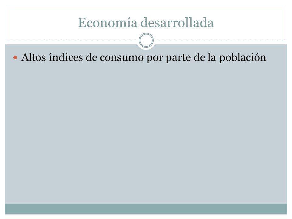 Economía desarrollada Altos índices de consumo por parte de la población