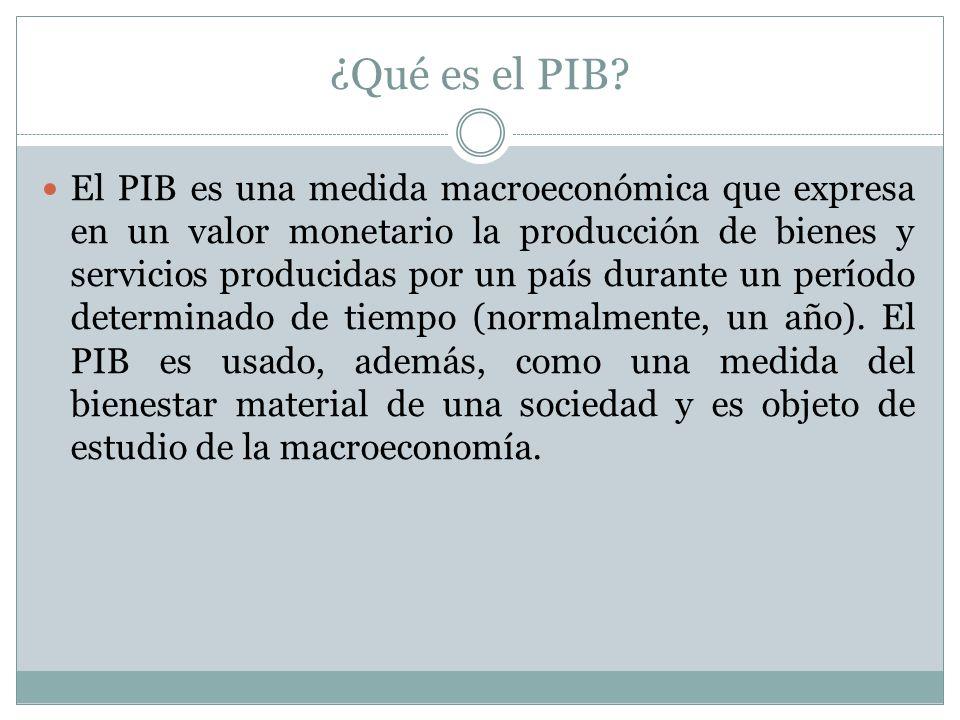 ¿Qué es el PIB? El PIB es una medida macroeconómica que expresa en un valor monetario la producción de bienes y servicios producidas por un país duran