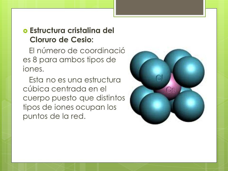 Estructura cristalina del Cloruro de Cesio: El número de coordinación es 8 para ambos tipos de iones.