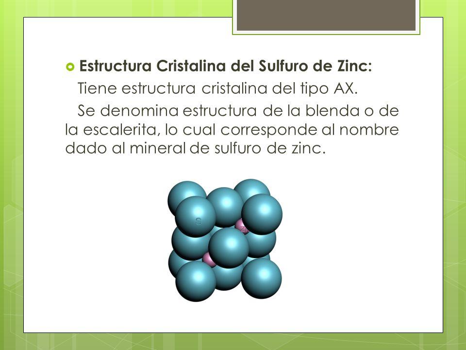Estructura Cristalina del Sulfuro de Zinc: Tiene estructura cristalina del tipo AX.