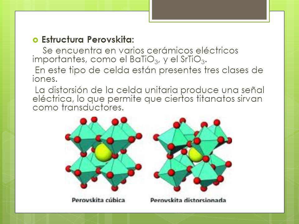 Estructura Perovskita: Se encuentra en varios cerámicos eléctricos importantes, como el BaTiO 3, y el SrTiO 3.