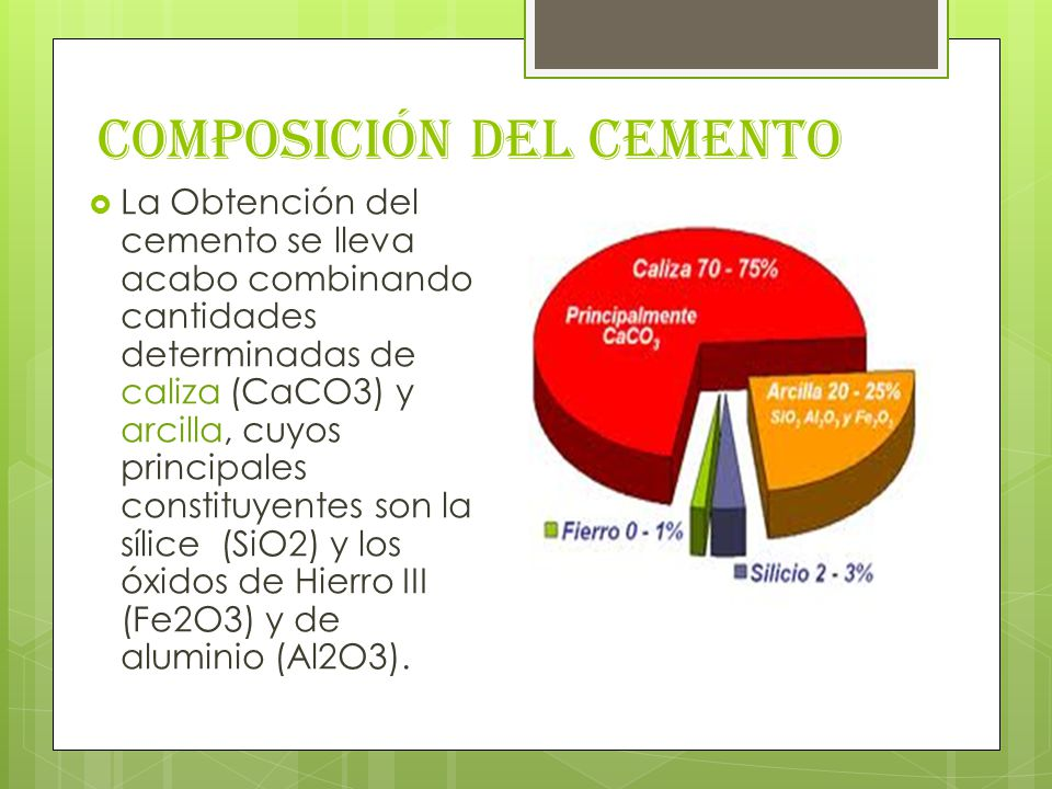Composición del Cemento La Obtención del cemento se lleva acabo combinando cantidades determinadas de caliza (CaCO3) y arcilla, cuyos principales constituyentes son la sílice (SiO2) y los óxidos de Hierro III (Fe2O3) y de aluminio (Al2O3).