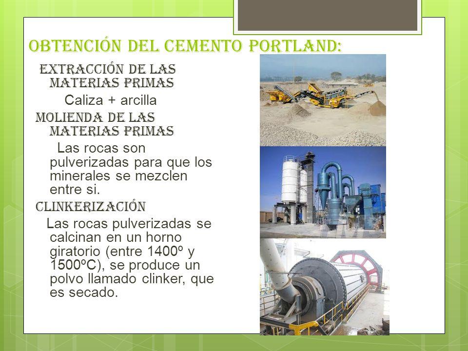Obtención del cemento portland: Extracción de las materias primas Caliza + arcilla Molienda de las materias Primas Las rocas son pulverizadas para que los minerales se mezclen entre si.