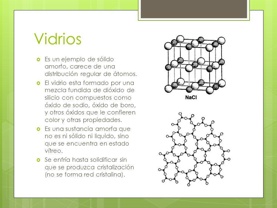 Vidrios Es un ejemplo de sólido amorfo, carece de una distribución regular de átomos.