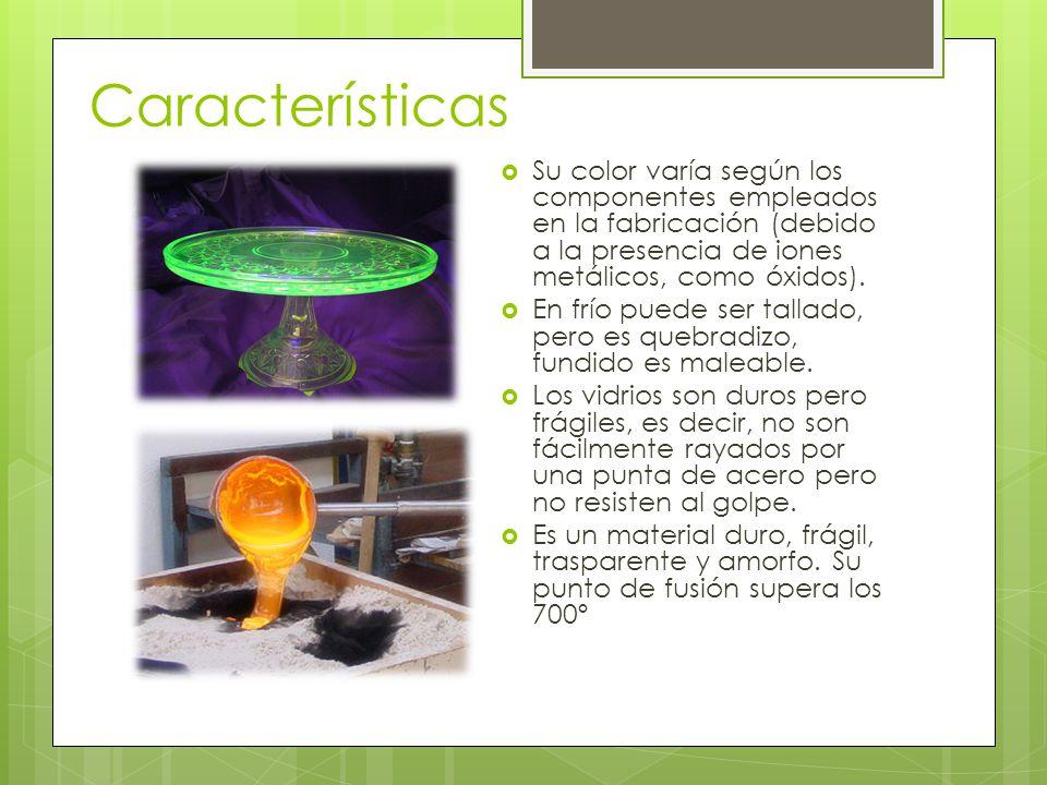Características Su color varía según los componentes empleados en la fabricación (debido a la presencia de iones metálicos, como óxidos).