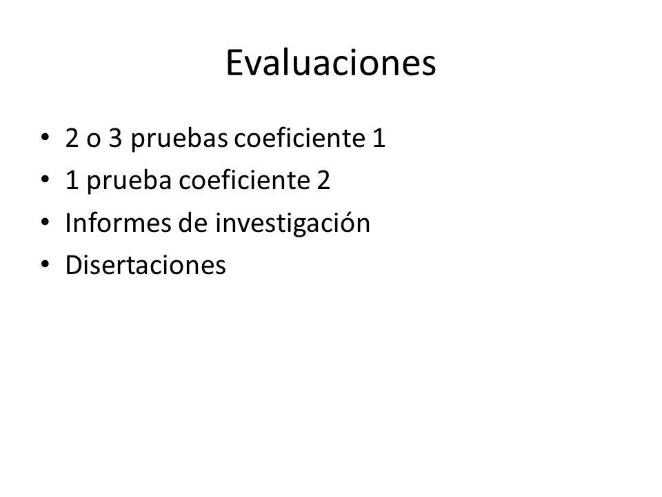 Evaluaciones 2 o 3 pruebas coeficiente 1 1 prueba coeficiente 2 Informes de investigación Disertaciones