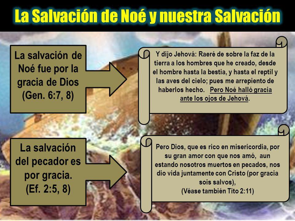 La salvación de Noé fue por la gracia de Dios (Gen. 6:7, 8) Y dijo Jehová: Raeré de sobre la faz de la tierra a los hombres que he creado, desde el ho