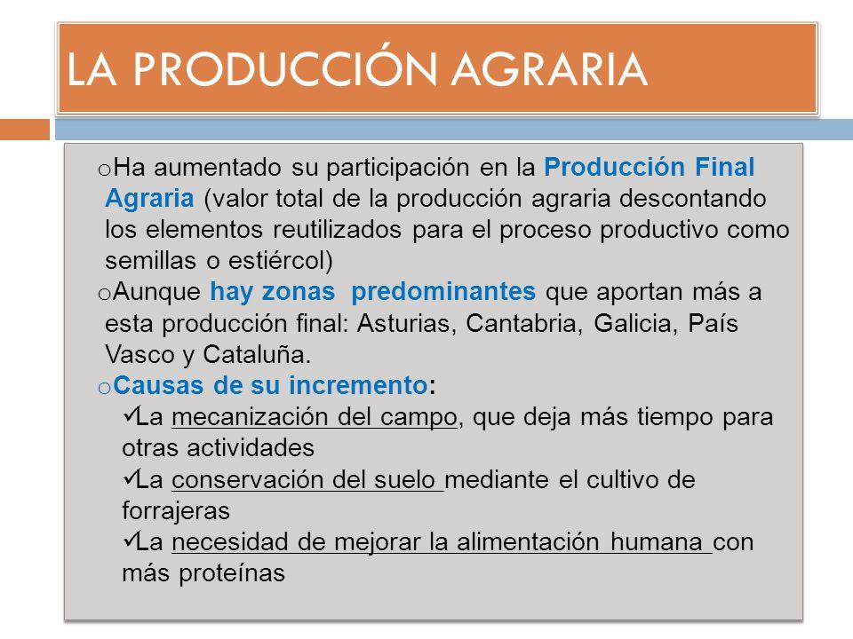 LA PRODUCCIÓN AGRARIA o Ha aumentado su participación en la Producción Final Agraria (valor total de la producción agraria descontando los elementos r