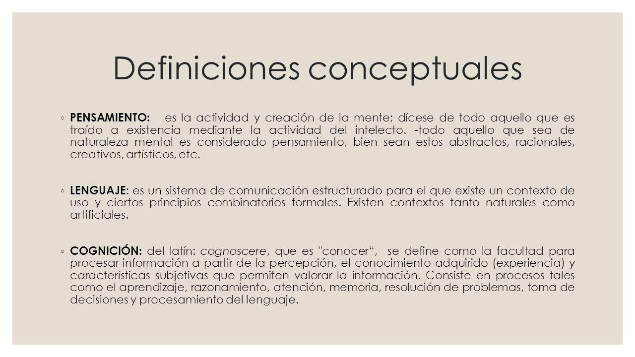 Definiciones conceptuales PENSAMIENTO: es la actividad y creación de la mente; dícese de todo aquello que es traído a existencia mediante la actividad del intelecto.