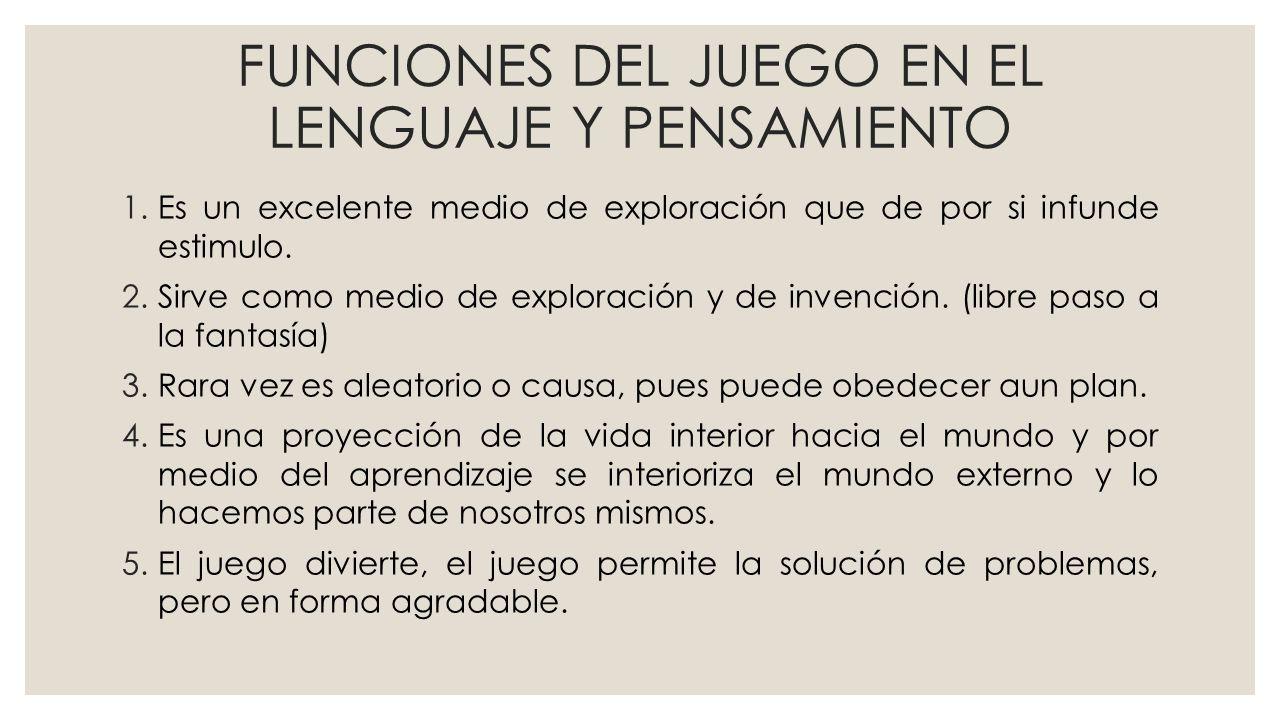 FUNCIONES DEL JUEGO EN EL LENGUAJE Y PENSAMIENTO 1.Es un excelente medio de exploración que de por si infunde estimulo.