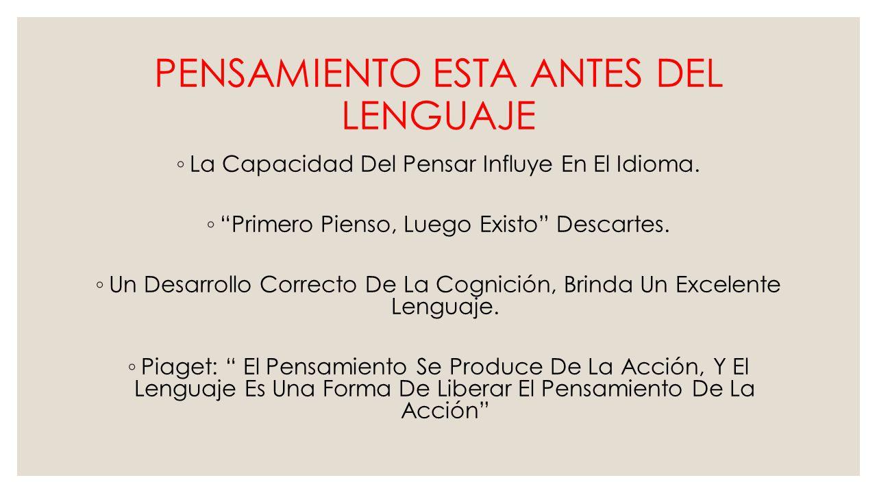 PENSAMIENTO ESTA ANTES DEL LENGUAJE La Capacidad Del Pensar Influye En El Idioma.