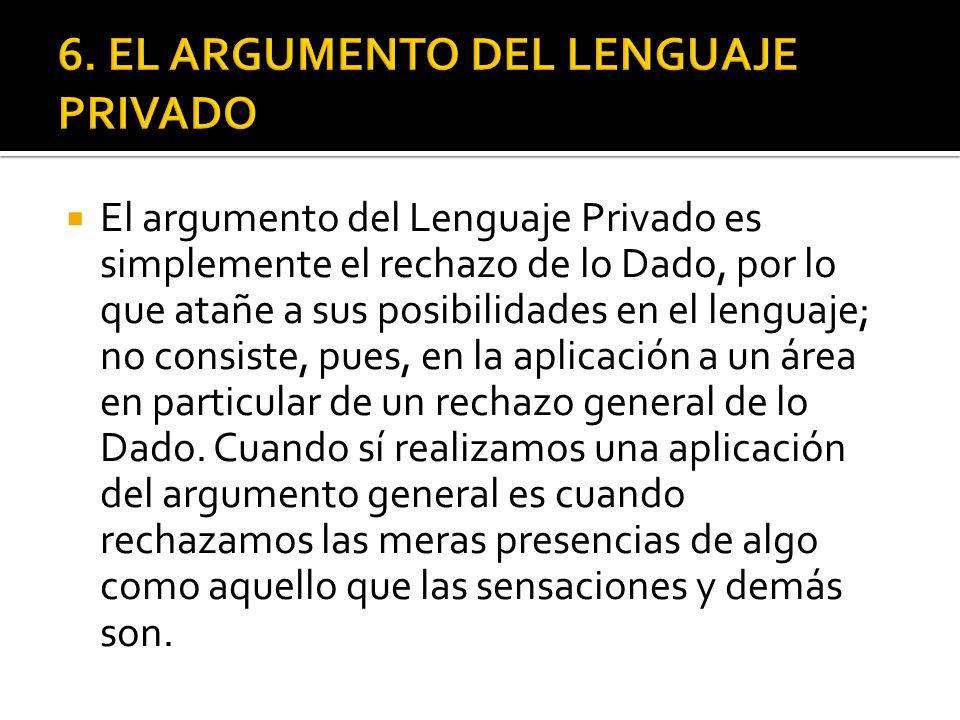 El argumento del Lenguaje Privado es simplemente el rechazo de lo Dado, por lo que atañe a sus posibilidades en el lenguaje; no consiste, pues, en la aplicación a un área en particular de un rechazo general de lo Dado.
