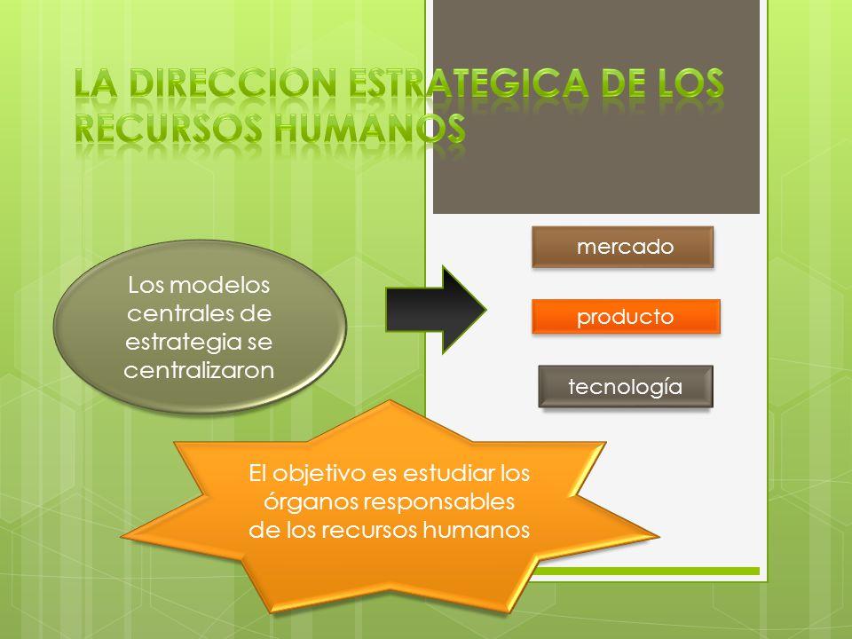 Los modelos centrales de estrategia se centralizaron mercado producto tecnología El objetivo es estudiar los órganos responsables de los recursos humanos