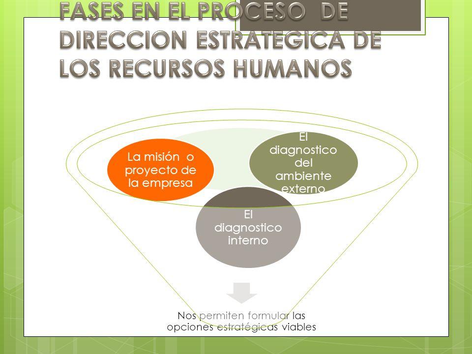 Nos permiten formular las opciones estratégicas viables El diagnostico interno La misión o proyecto de la empresa El diagnostico del ambiente externo