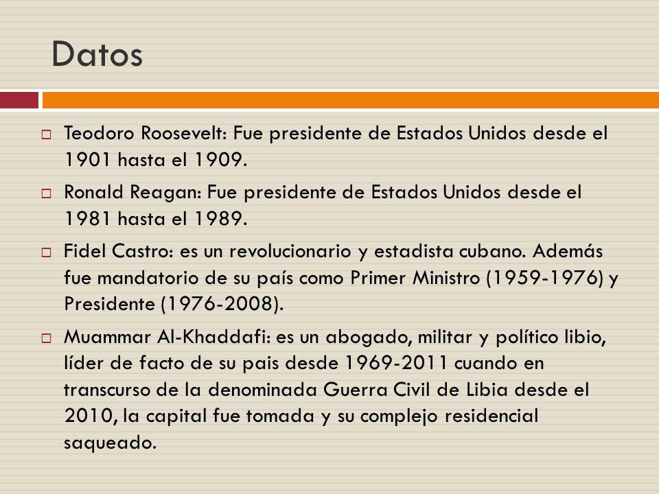 Datos Teodoro Roosevelt: Fue presidente de Estados Unidos desde el 1901 hasta el 1909.