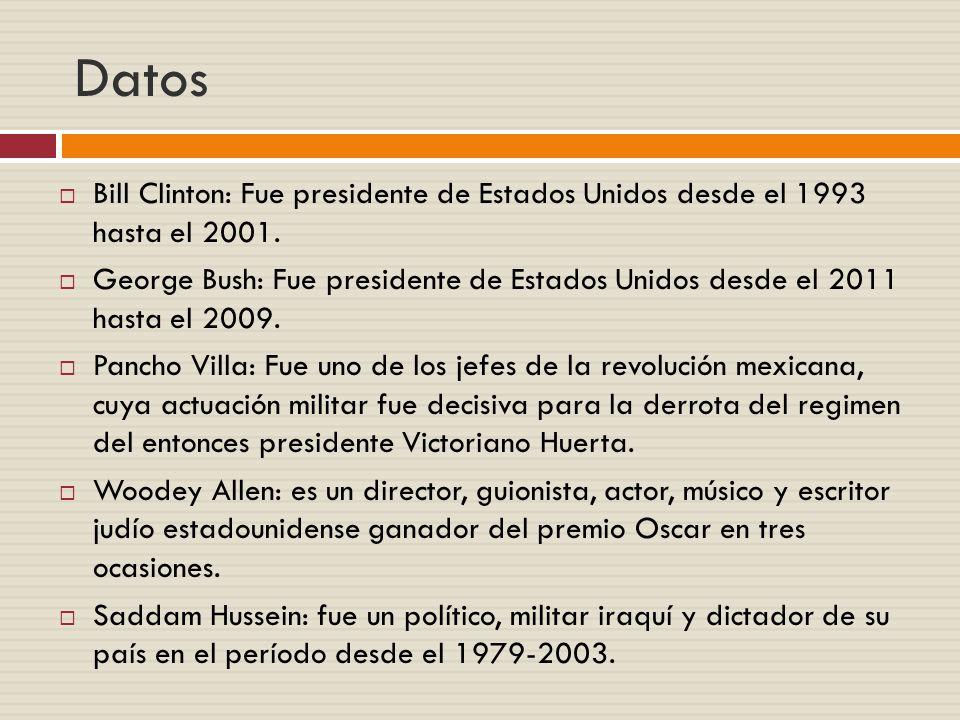 Datos Bill Clinton: Fue presidente de Estados Unidos desde el 1993 hasta el 2001.