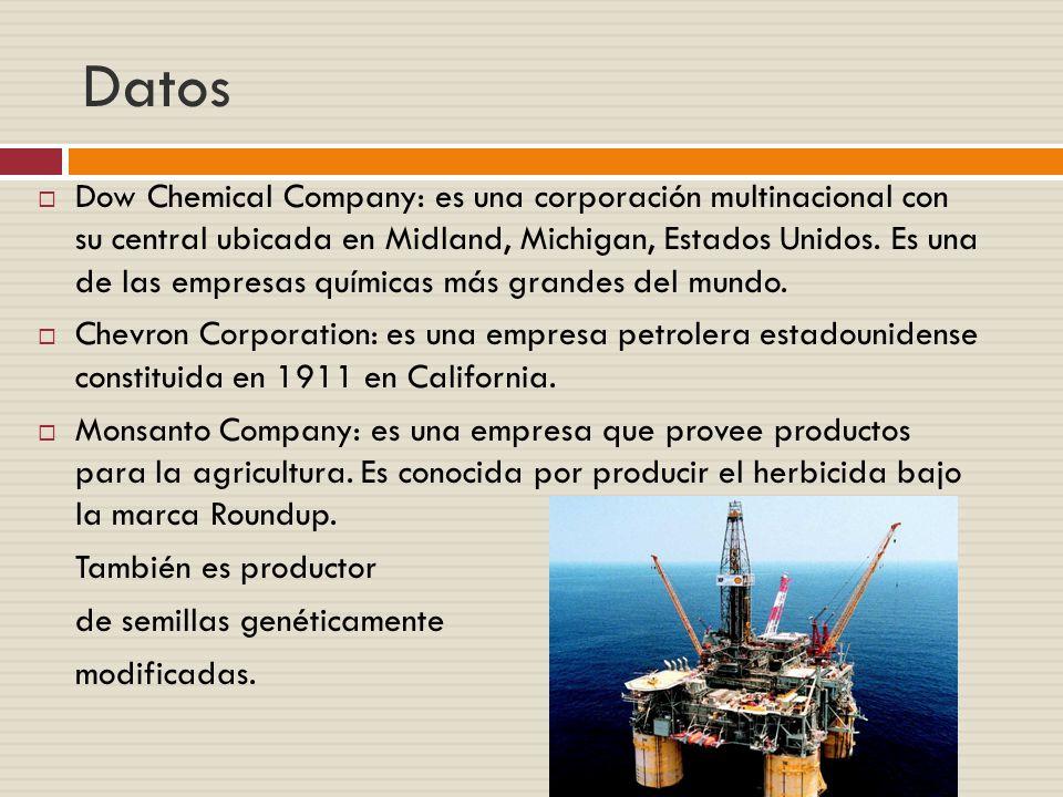 Datos Dow Chemical Company: es una corporación multinacional con su central ubicada en Midland, Michigan, Estados Unidos.