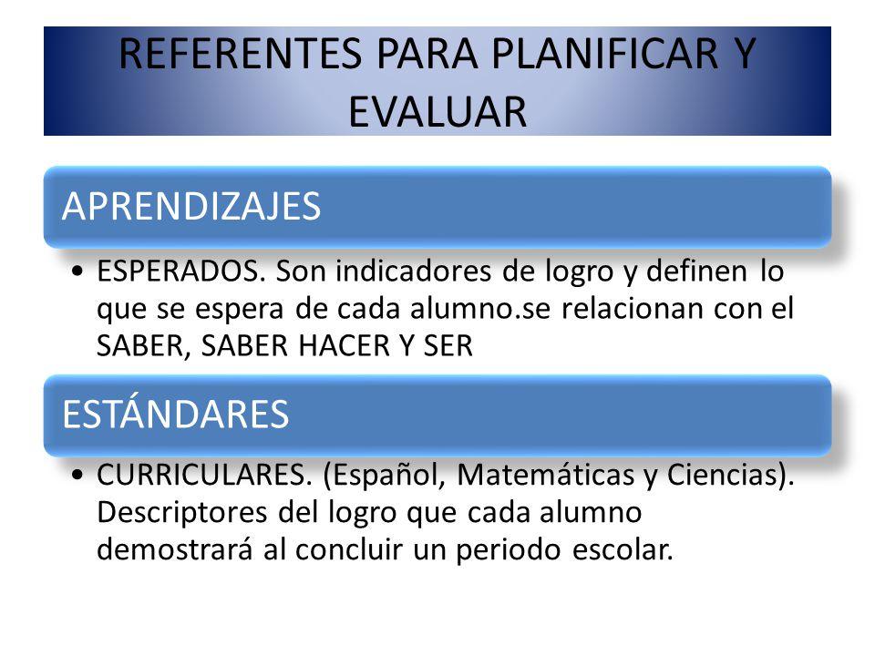REFERENTES PARA PLANIFICAR Y EVALUAR APRENDIZAJES ESPERADOS. Son indicadores de logro y definen lo que se espera de cada alumno.se relacionan con el S