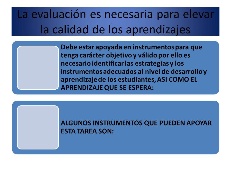 La evaluación es necesaria para elevar la calidad de los aprendizajes Debe estar apoyada en instrumentos para que tenga carácter objetivo y válido por