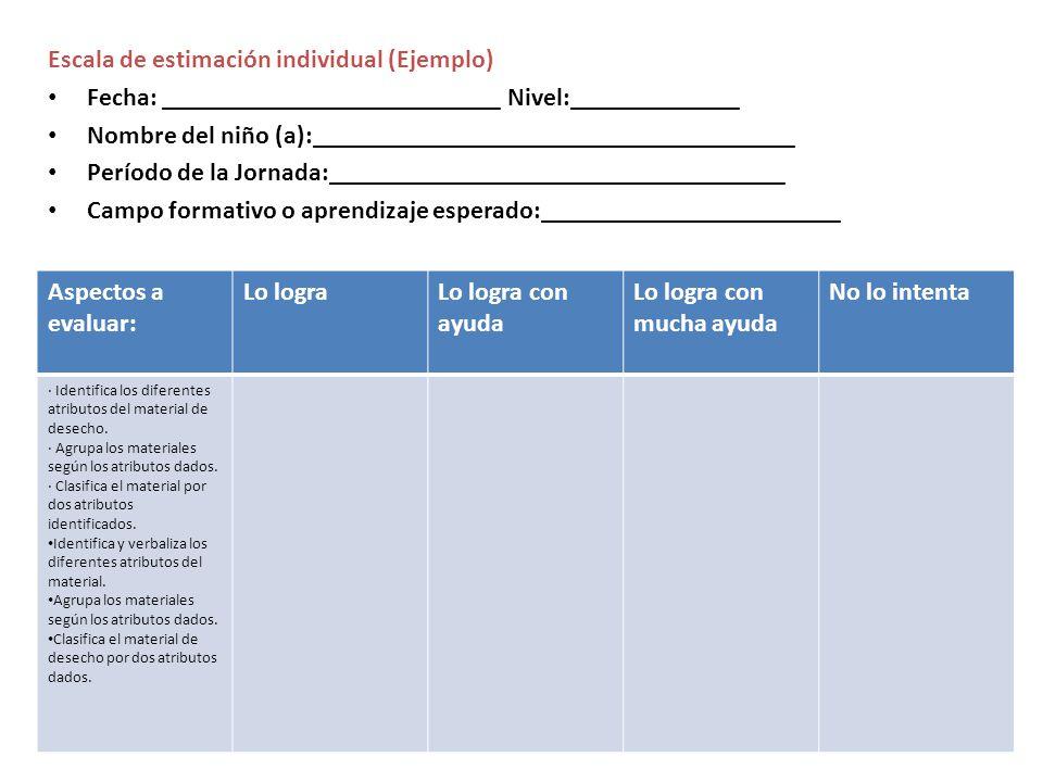 Escala de estimación individual (Ejemplo) Fecha: __________________________ Nivel:_____________ Nombre del niño (a):__________________________________