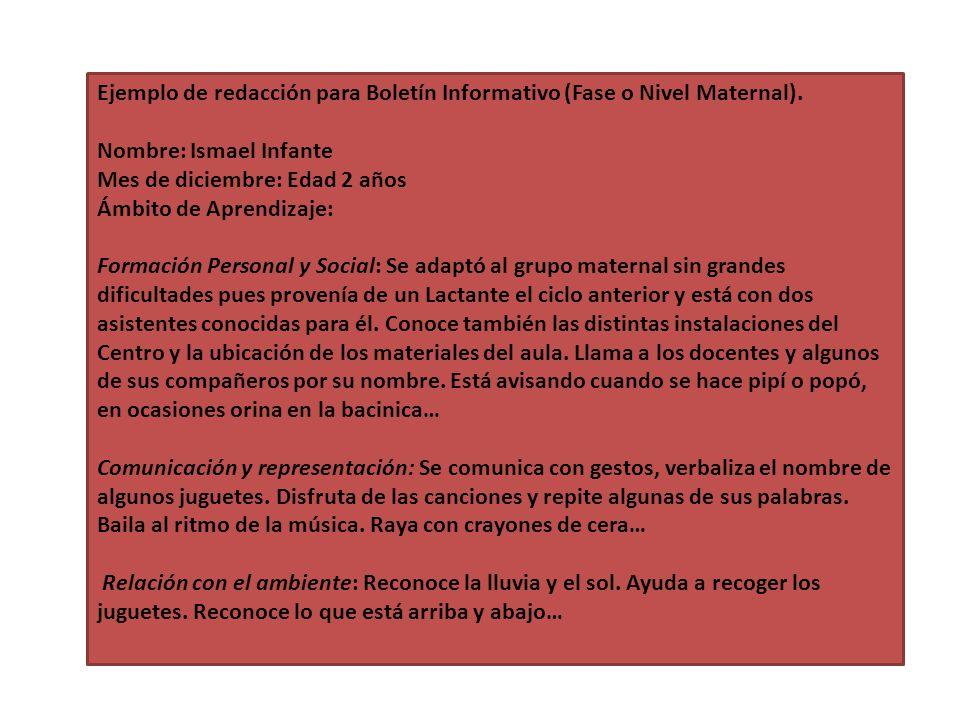 Ejemplo de redacción para Boletín Informativo (Fase o Nivel Maternal). Nombre: Ismael Infante Mes de diciembre: Edad 2 años Ámbito de Aprendizaje: For