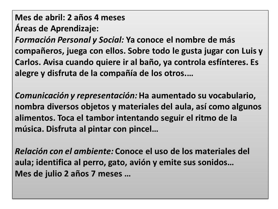 Mes de abril: 2 años 4 meses Áreas de Aprendizaje: Formación Personal y Social: Ya conoce el nombre de más compañeros, juega con ellos. Sobre todo le