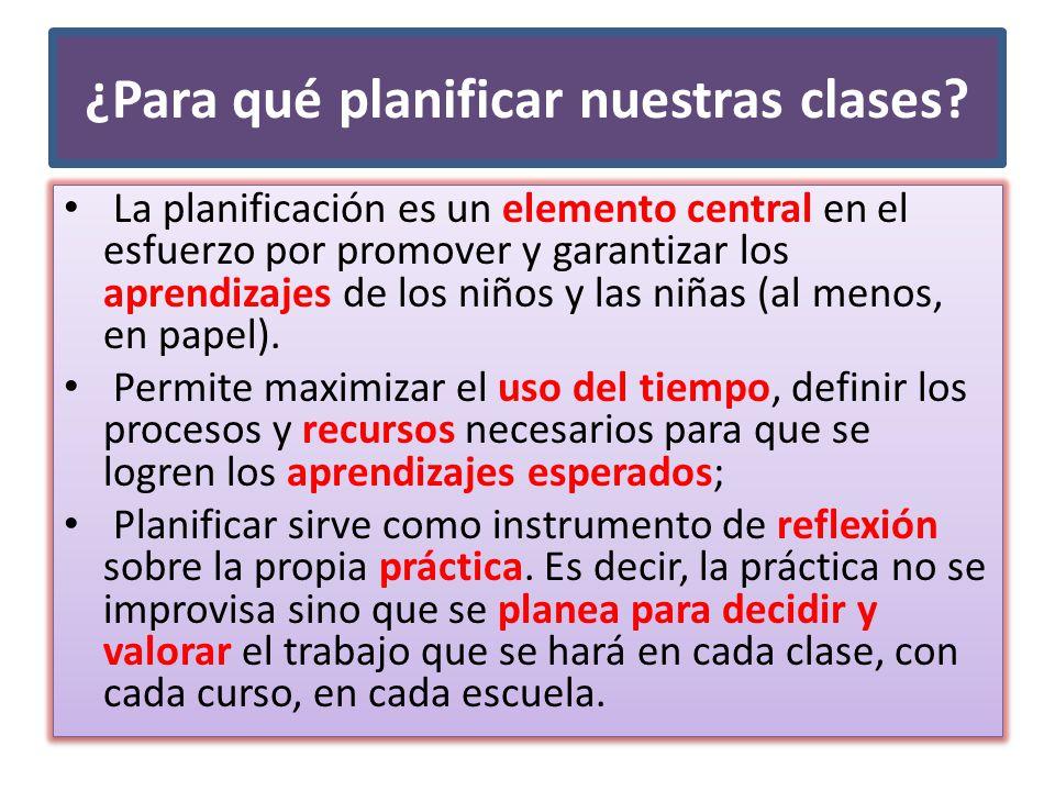 ¿Para qué planificar nuestras clases? La planificación es un elemento central en el esfuerzo por promover y garantizar los aprendizajes de los niños y